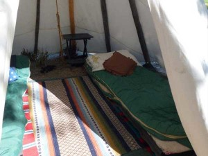 Tepee campsite at Wagonhammer Campgrounds