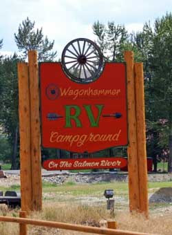 Wagonhammer Sign Welcomes Idaho Campers