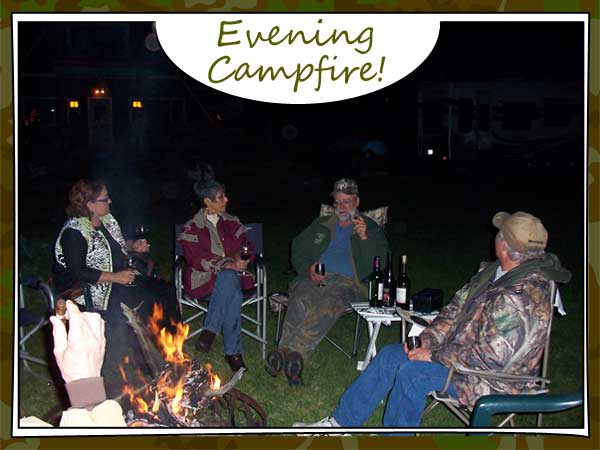 Hunters gather around campfire